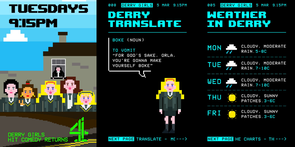 Derry Girls toasts the 90s with Teletext-inspired Instagram Story