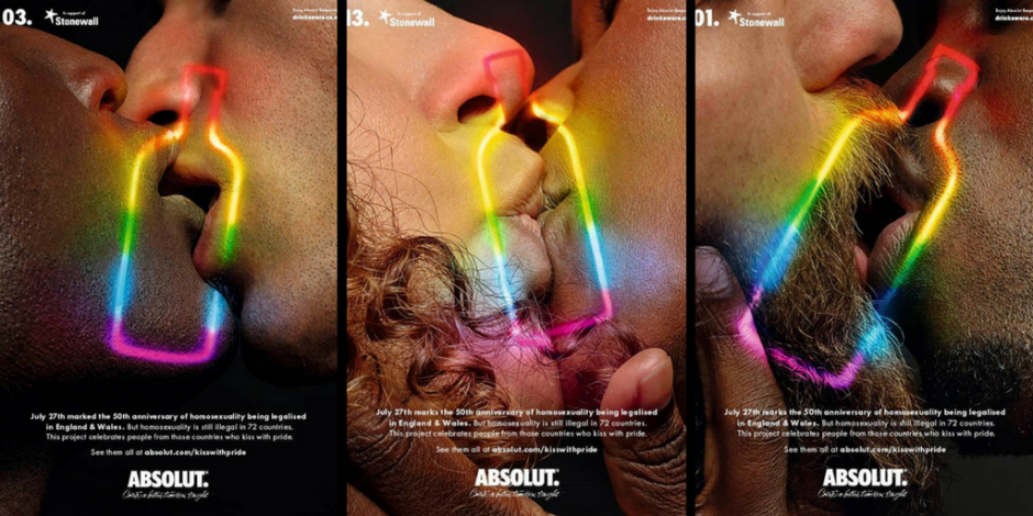 Absolut 'Kiss with Pride' ad celebrates 50 years of *partial  decriminalisation of homosexuality   The Drum
