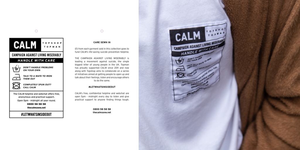 CALM and Topshop 'Care Sewn In' campaign threads together fashion and mental wellbeing